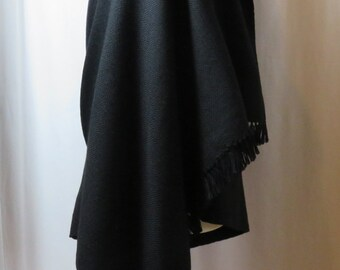 Made to Order Hand Woven Black Wool Shawl, Oversized Scarf, Black Blanket Scarf, Large Black Wrap, Meditation Shawl in Soft Black Wool