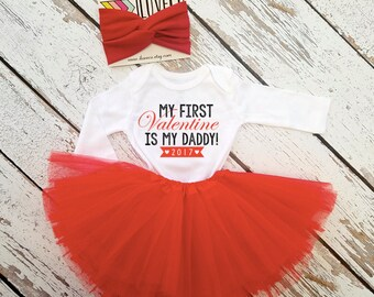 TUTU & Bodysuit Daddy's Little Valentine / Valentine outfit / My First Valentines day outfit