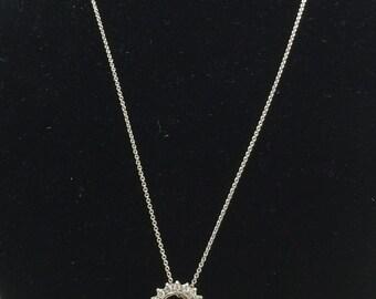 "Large Sterling Silver CZ Heart 18"" Pendant Charm Necklace GORGEOUS!"