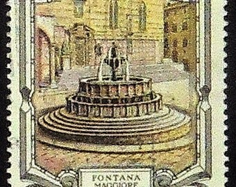 Fontana Maggiore, Perugia Italy -Handmade Framed Postage Stamp Art 20621AM