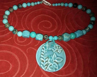 Turquoise and ceramic necklace