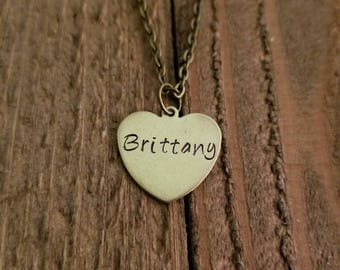 Name Necklace - Brass Heart Name Necklace - Custom Heart Necklace - Simple Name Necklace