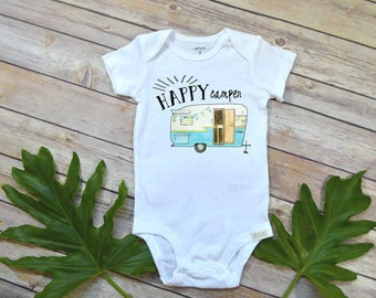 Happy Camper shirt, Baby Boy Gift, Funny baby bodysuit, Funny Baby Gift, Hipster Baby, Cute Baby Shower Gift, Camping Bodysuit,Hippie baby