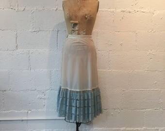 1950s Blue Lace Petticoat Skirt // 50s Sydney Bush Original Underskirt  // Vintage 1950s Lace Trimmed Slip