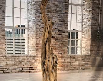 Floor lamp of weathered old Oak wood stump plank.