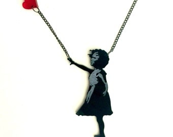 Graffiti Street Art Banksy Girl with a Floating Heart
