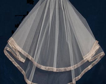 Rum Pink or Blush Two Layer Wedding Veil with Organza Ribbon Edge