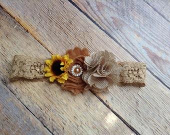 Sunflower newborn  couture girls burlap-baby girls headband-