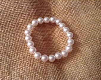 Bridal Pearl stretch bracelet-Wedding-bride-bridesmaid-flower girl-pearls
