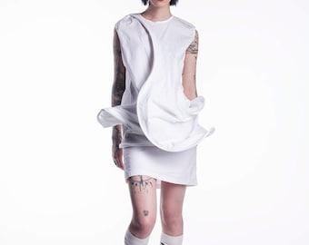 New White Summer Extravagant Dress, White Asymmetrical Dress, White Fashion Dress, White Summer Shirt, White Summer Dress, White Top