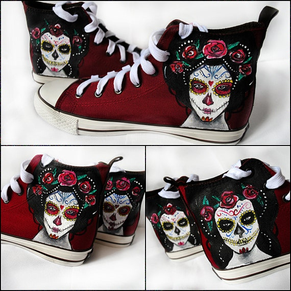 Personalized handpainted shoes, Santa Muerte, personalized ...