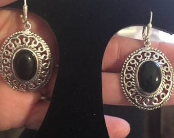 Black Onyx 925 Sterling Silver Drop Earrings