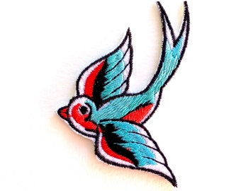 Rockabilly Swallow Felt Embroidered Iron On Patches - 70mm - Retro - Tattoo - DIY - Vintage - Applique - Birds