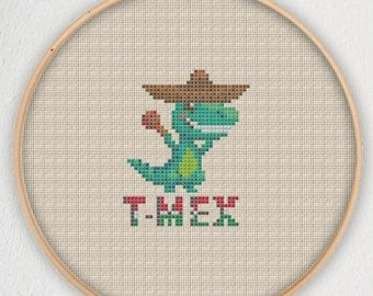 T-Mex Cross Stitch Pattern - Instant Download PDF