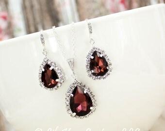 Marsala Earrings Burgundy Bridesmaid Jewelry Dark Red Earrings Bordeaux Wine Cabaret Marsala Red Bridesmaid Jewelry Bridesmaid Jewelry Set
