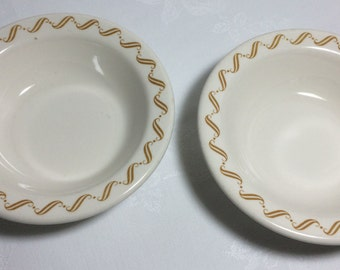 "Mark Buffalo China Newport Gold Scroll Bowls (2) 6.5""  Vintage 1960s Diner Ware Restaurant Ware Mid Century Retro Kitchen"