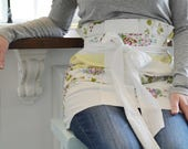 French Toast and Coffee Apron - Yellow and White Floral Half Apron, Women, Vintage, Plus Size