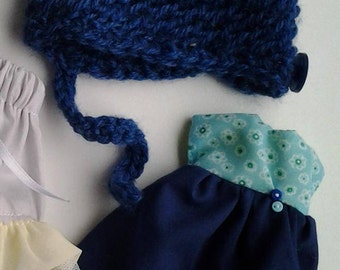Blue. Handmade Blythe doll clothes - dress and hat *FREE UK SHIPPING*