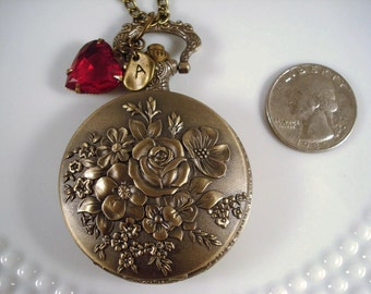 Rose Pocket Watch Necklace Victorian Inspired Heirloom Gift