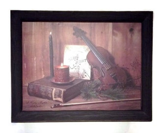 Christmas Decor, Holy Night, Home Decor, Wall Hanging, Bible, Music, Violin, Art Print, Handmade, 19X15, Custom Wood Frame, Made in the USA