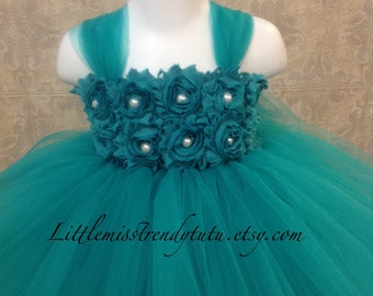 Teal Flower Girl Dress, Teal Tutu Dress, Dark Turquoise Tutu Dress, Aqua Marine Tutu Dress, Dark Aqua Flower Girl Dress, Teal Tutu Dress