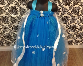 Queen Elsa Turquoise Tutu Dress with Matching Snowflake Cape, Frozen Inspired Tutu Dress