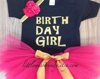 Girls BIRTHDAY GIRL Birthday Tutu Set, Pink Black Gold Birthday Set, 1st Birthday Tutu, Girls Birthday Outfit, Birthday Tutu Girls, Tutu