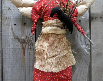 Positively Primitive Angel Doll with Crow - Fabric and Twigs