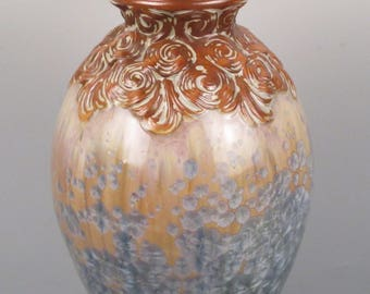 Mougin (France) Art Deco Crystalline-Glazed Vase, Stoneware, c. 1920s, Variegated and Elegant