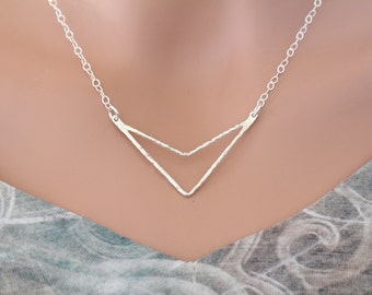 Sterling Silver Large Hammered Arrow, Sterling Silver Hammered Double Chevron Pendant Necklace, Triangle Pendant Necklace