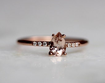 14K Pear Morganite Solitaire Ring, Pave Set Diamond, Pear Engagement Ring, Daint Engagement Ring, Minimal Jewelry, Solid Gold, Pink Stone