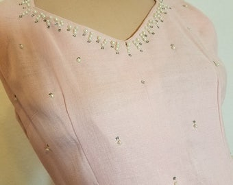 FREE  SHIPPING  1950 Linen Pearl Dress