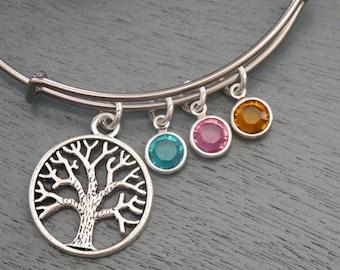 Tree Birthstone Bangle, Gifts for Grandmothers, 3 4 5 6 Birthstone Bracelet, Silver Tree Bracelet, Grandchildren birthstones Bracelet, Tree