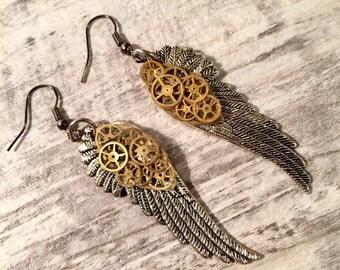 Steampunk Earrings, Steampunk Jewelry, Angel Wing Earrings with Gears Earrings, Vintage watch gears, Brass and Silver