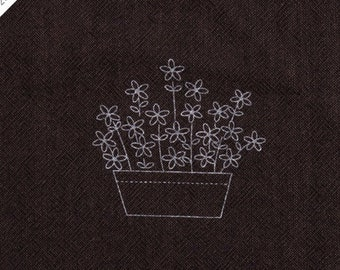 """byhands Laisy Daisy Printed Fabric for Embroidery, 7.9"""", Sepia (EP01K-C)"""