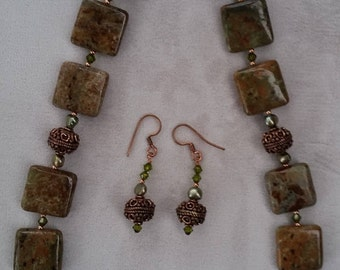 Autumn Jasper Necklace and Earrings Set