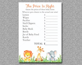 Safari Baby Shower Game, Price is Right Game Printable, Jungle baby shower game, Safari Baby Shower game Instant Download 001-A