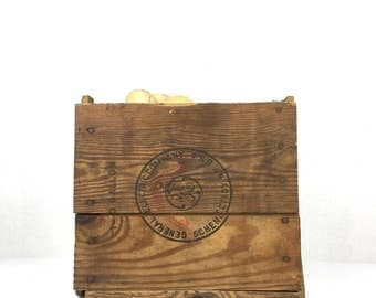 Antique Wood Box General Electric Wood Crate Old Wooden Crate 1940s GE Advertising Wood Crate Vintage Wood Crate General Electric 1940s