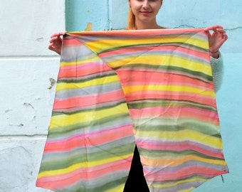 Vintage silk Scarf, multicolor scarf, Hand-painted scarf, Batik shibori shawl, Light summer scarf, head scarf, Women's Neck Scarf