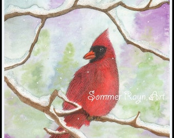 Mr. Cardinal in the snow,  A holiday card or winter scene,  print, card or portrait -  Watercolor, Item #0506a