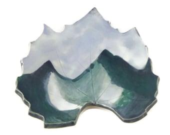 Grape Leaf dish - pottery - Mountain leaf - landscape - ring dish - spoon rest - fall leaf - decor - mountain landscape - handpainted