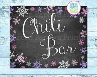 Chili Bar Sign, Instant Download, Winter Wonderland, Winter Onederland, Birthday Party, Printable, Digital File, Pink, Lavender