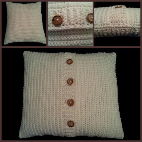 Crocheted BUTTON THROW PILLOW Pattern