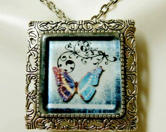 Butterfly convertible pendant or brooch with chain - WAP35-004