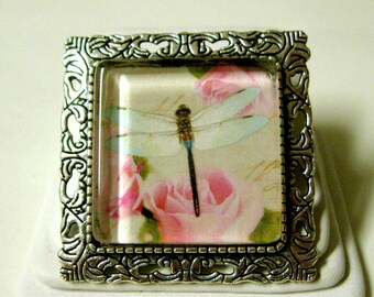 Dragonfly convertible pendant or brooch with chain - WAP35-016