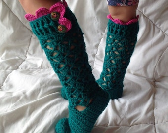 Kids Long Socks,Lacy Crochet socks,Emerald Girl's Knee Socks,Lace Ruffle,Pink Crochet Lace Trim, and Wooden Buttons,Gril knee socks