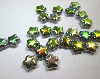 24 Vintage Glass Iridescent Star Beads