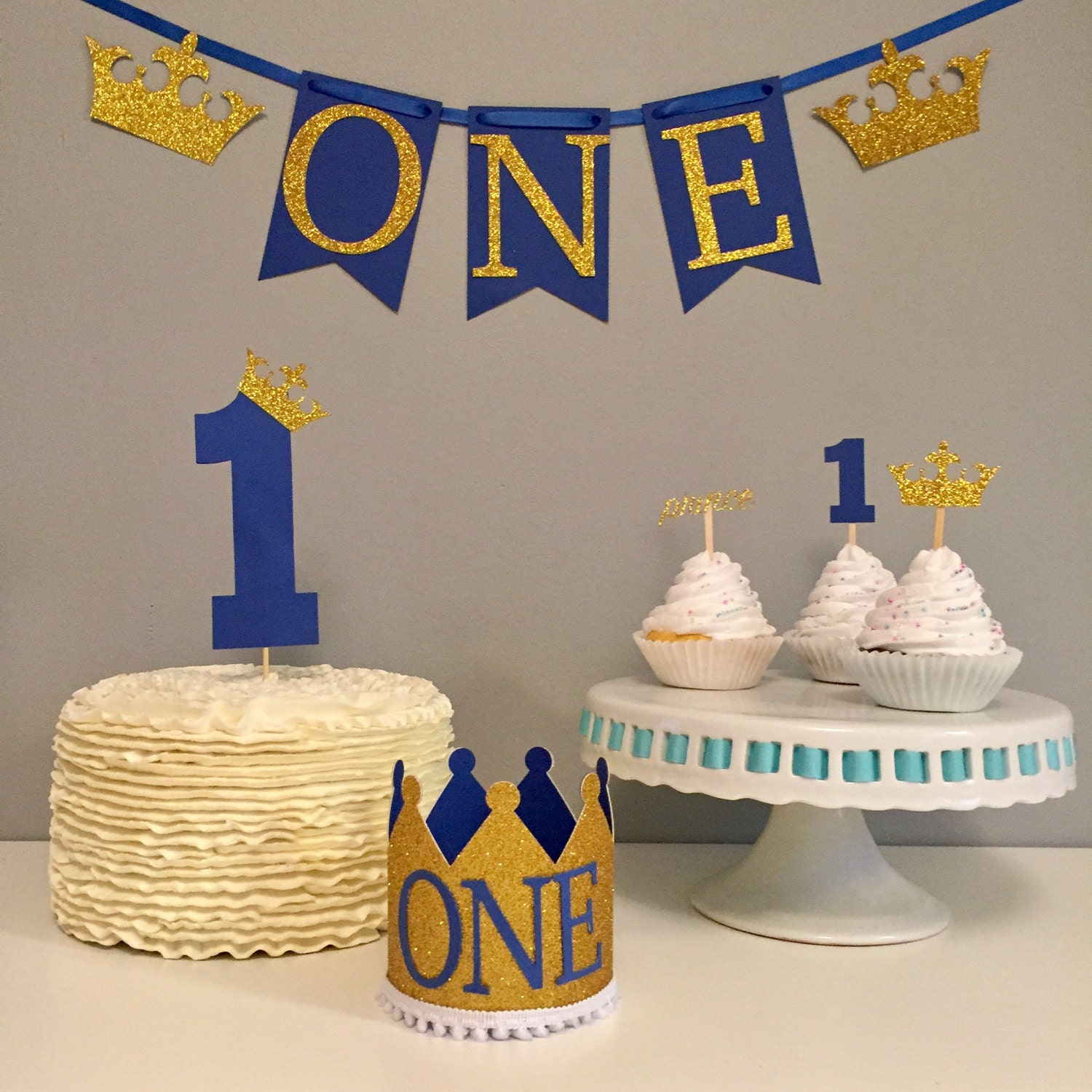 Royal prince first birthday package high chair banner crown