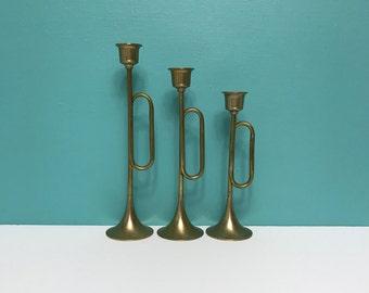 Vintage Brass Trumpet Candle Holders Graduated Brass Candlesticks Set of 3 Bugle Candleholders