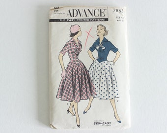 Advance 7863 · sz 13, bust 31 · Juniors Drop-Waist Dress with Wing Collar · Vintage 1950s Sewing Pattern